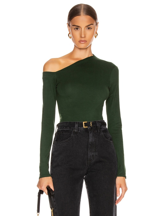 Angled Exposed Shoulder Long Sleeve Top in Evergreen