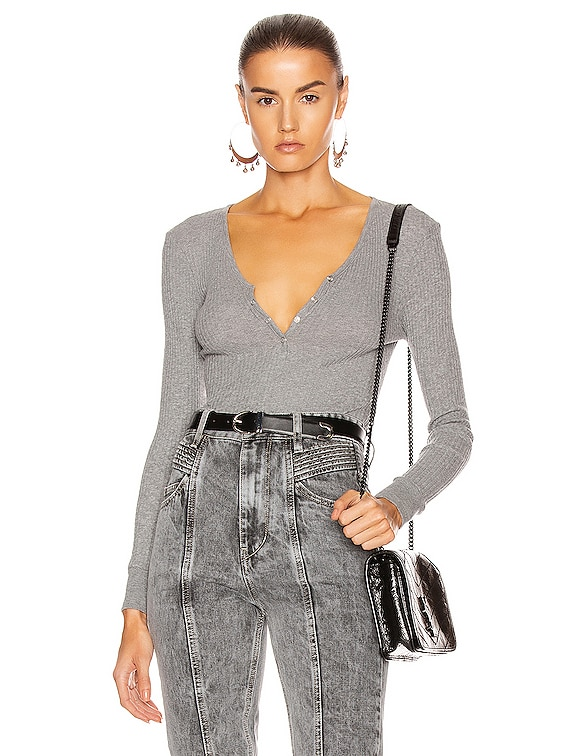 Cashmere Pointelle Long Sleeve Henley in Smoke