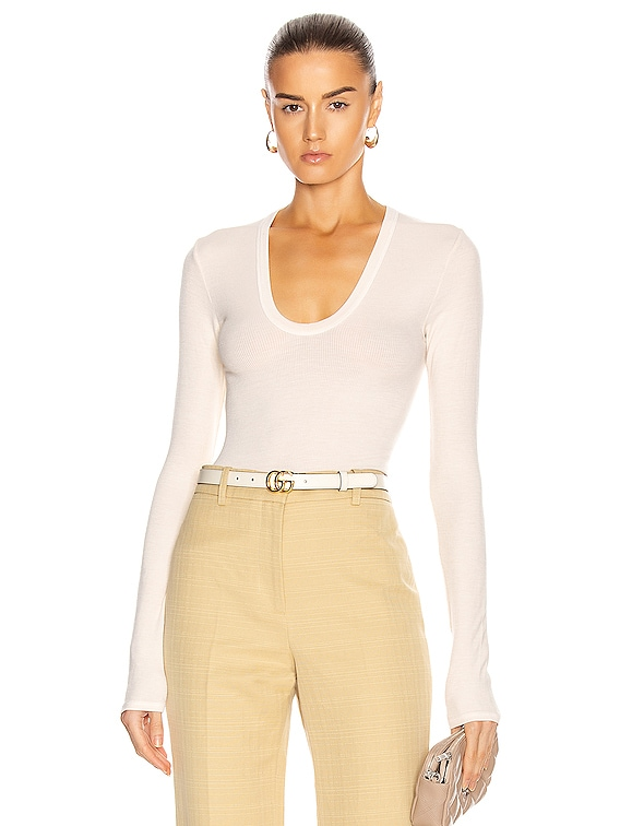 for FWRD Silk Rib Fitted Long Sleeve U Top in Natural