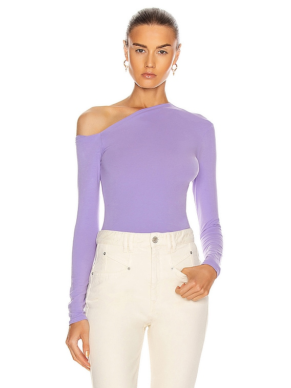 Angled Exposed Shoulder Long Sleeve in Lavender