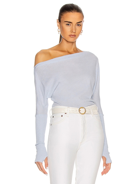 Cashmere Cuffed Off Shoulder Long Sleeve Top in Pale Blue
