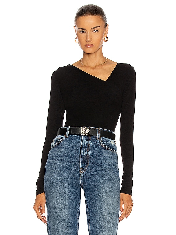 Brushed Supima Cotton Asymmetrical Neck Long Sleeve Top in Black