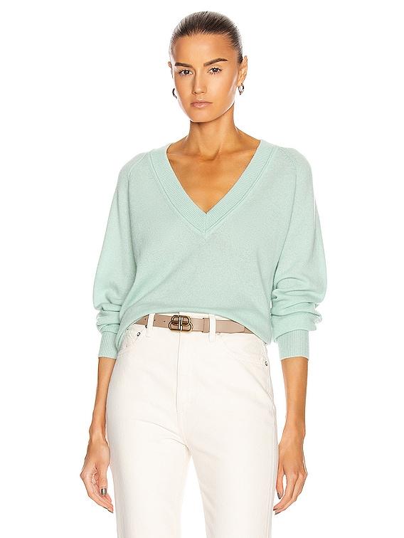 Madalene V-Neck Sweater in Silt Green
