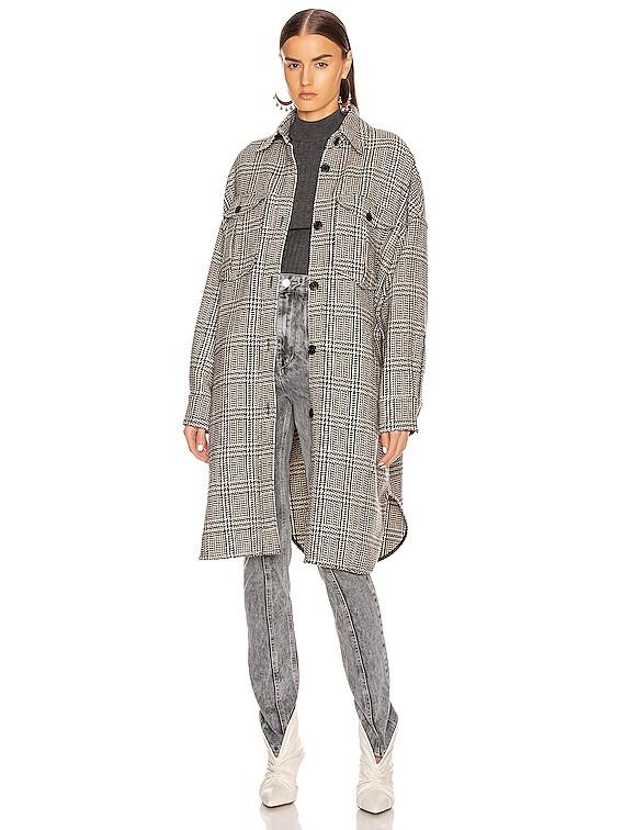 Obira Coat in Black & Ecru