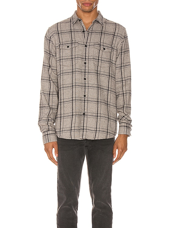 Long Sleeve Double Flap Pocket in Grey Multi