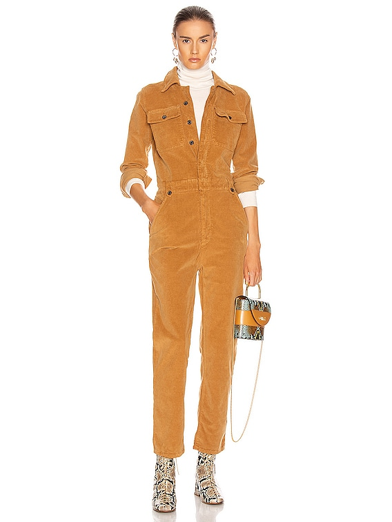 Caitlin Cord Coverall in Camel