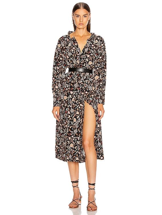 Ruffle Front Dress in Noir Multi