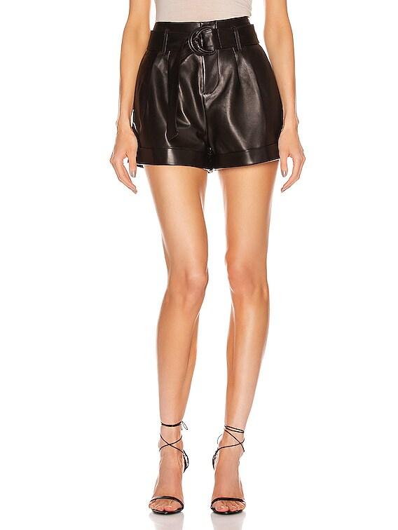 Paperbag Leather Short in Noir