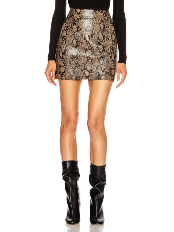 Embossed Leather Skirt in Brown Multi