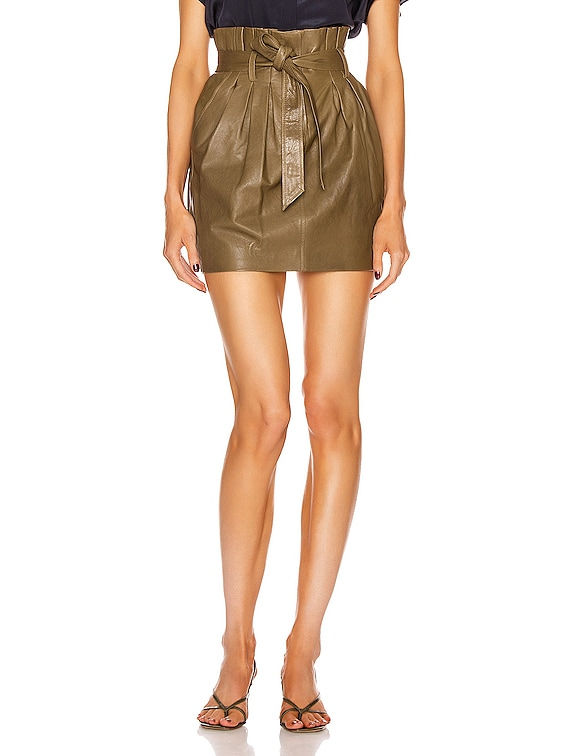 Paperbag Leather Skirt in O/D