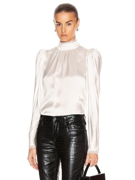 Lace Cuff Top in Off White