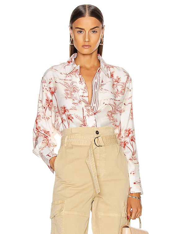 Tie Up Toile Shirt in Burnt Sienna Multi