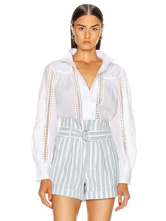Panel Lace Button Up Top in Blanc