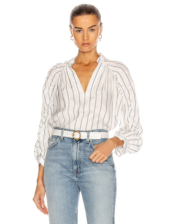Ruched Cali Popover Top in Blanc Multi