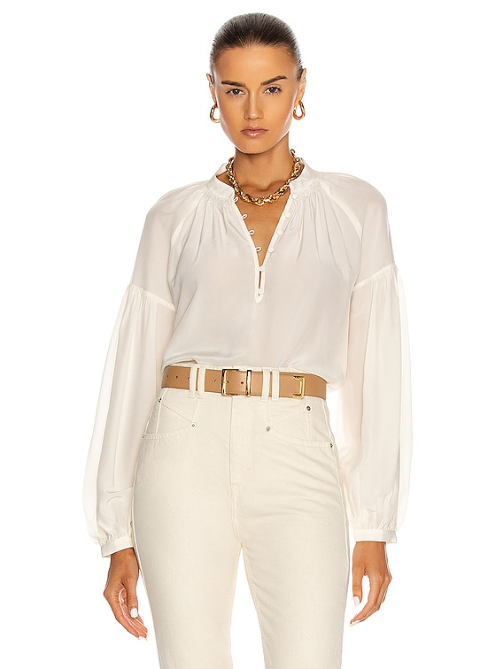 Billow Long Sleeve Top in Off White