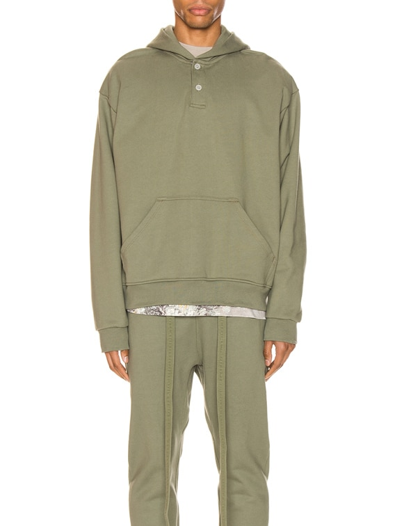 Everyday Henley Hoodie in Army Green