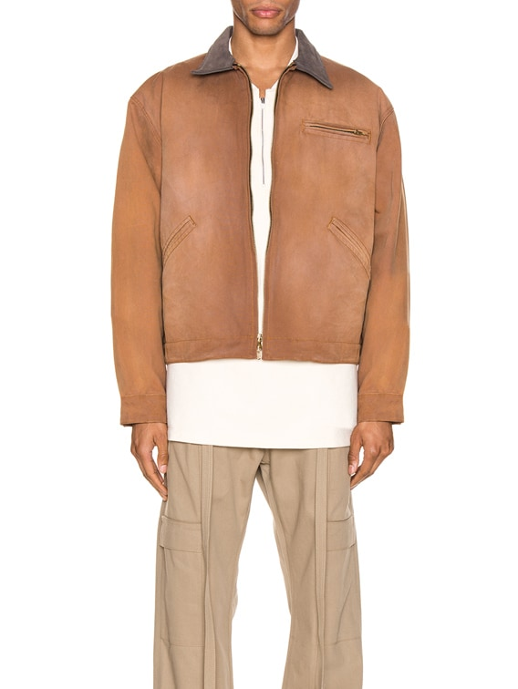 Canvas Work Jacket in Brick & Brown