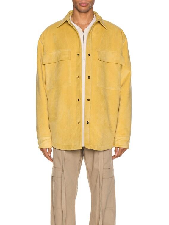 Suede Shirt Jacket in Garden Glove Yellow