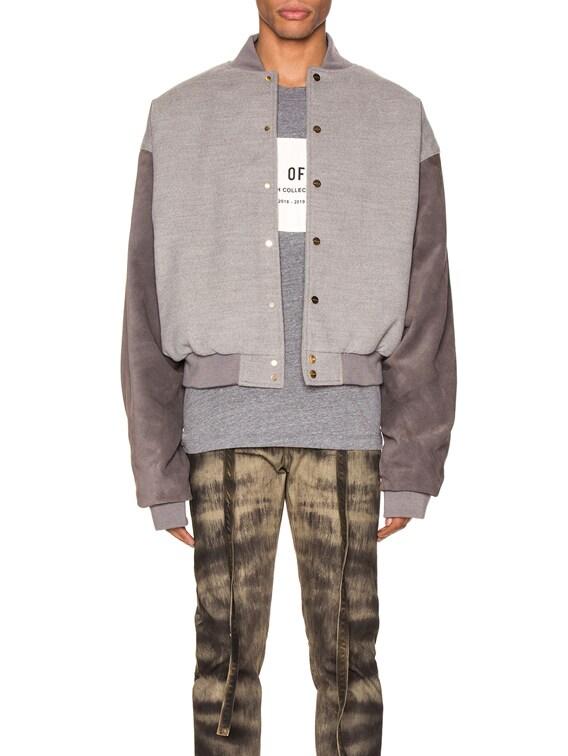 6th Collection Varsity Jacket in Melange Grey & Brown