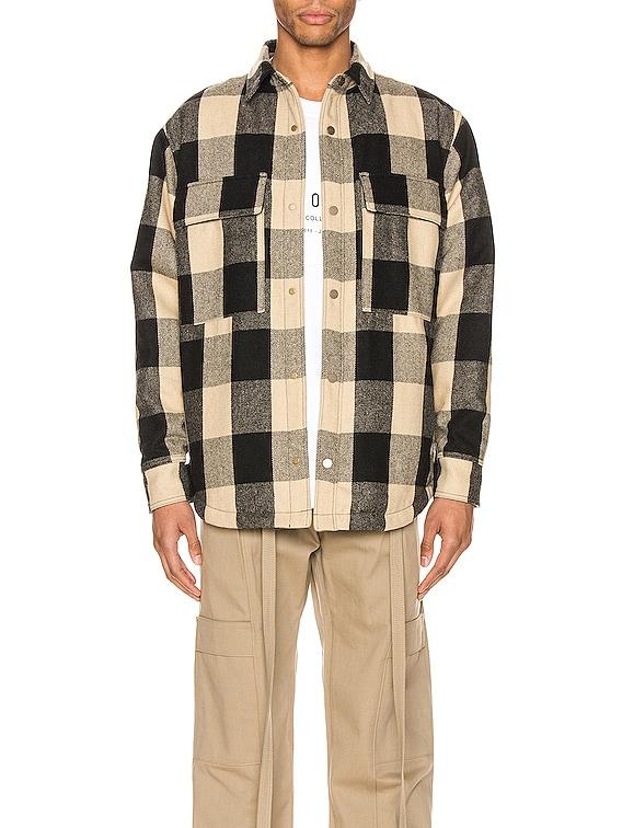 Oversized Check Shirt Jacket in Black & Cream Oversized Check