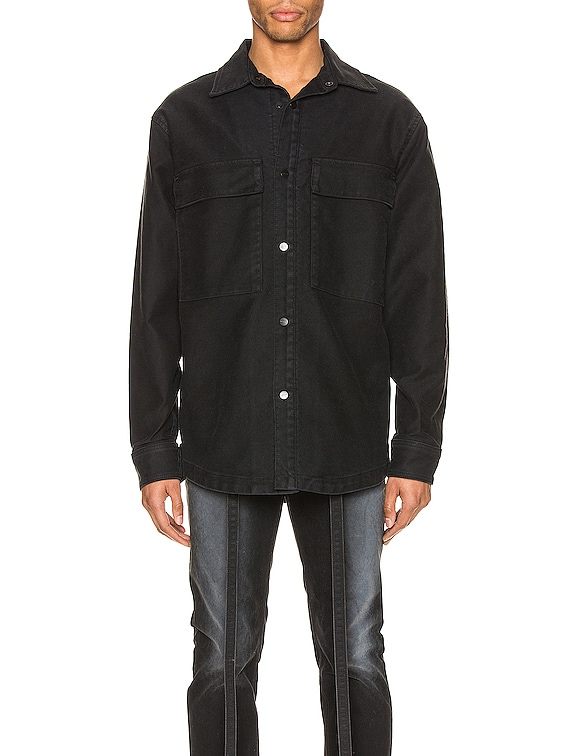 Canvas Shirt Jacket in Black