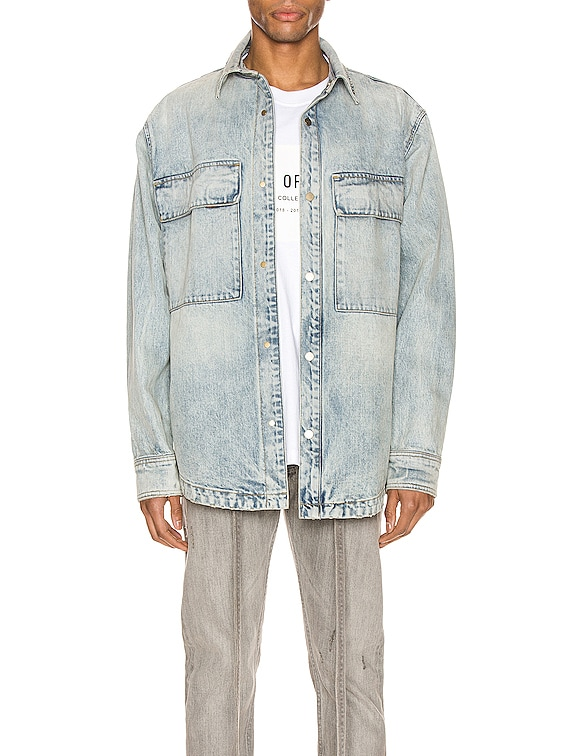 Denim Vented Shirt Jacket in Vintage Indigo