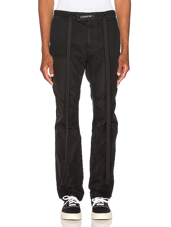 Nylon Double Front Work Pant in Black