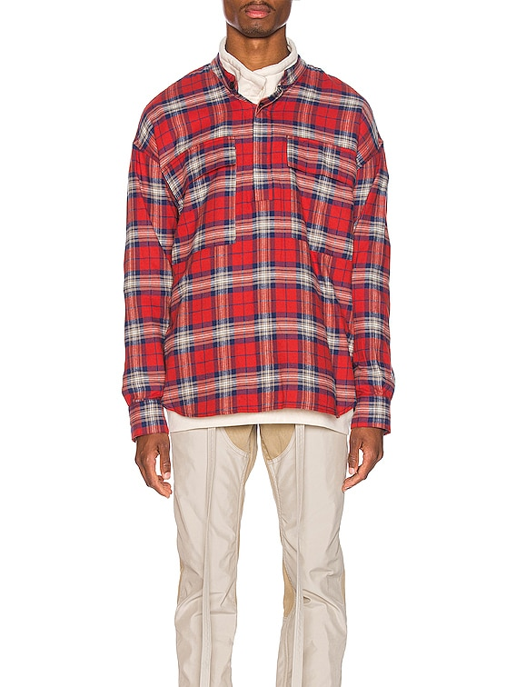 Pullover Henley in Red Plaid