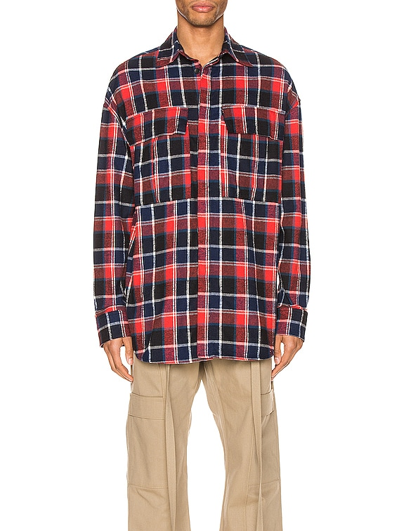 Long Sleeve Plaid Button Up in Red & Navy Plaid