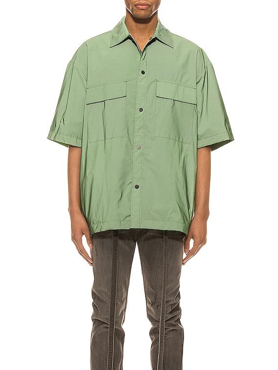 Oversized Nylon Shirt in Army Iridescent