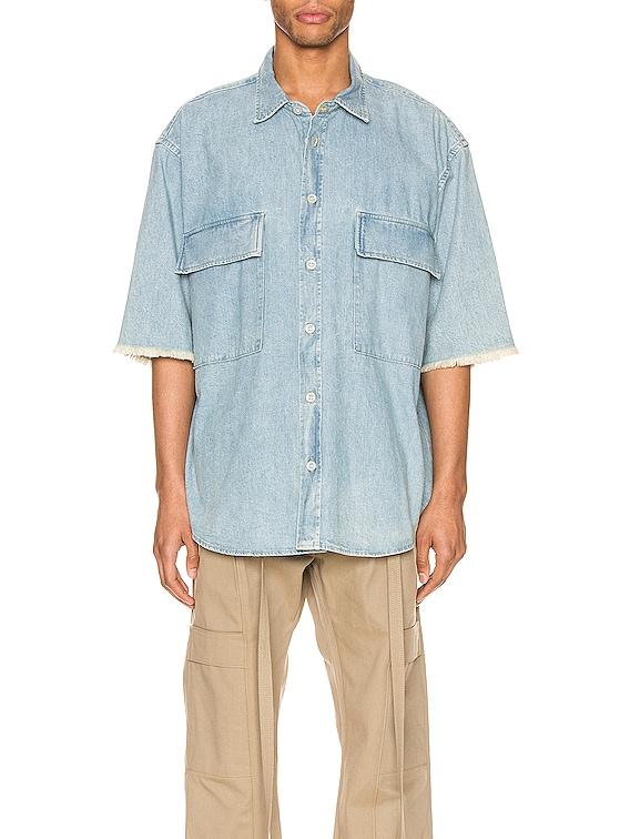 Denim Short Sleeve Button Up in Vintage Indigo