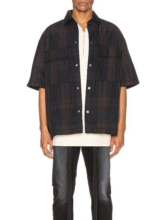 Oversized Nylon Shirt in Navy & Brown Plaid
