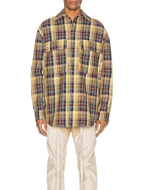 Long Sleeve Plaid Button Up in Yellow & Brown Plaid