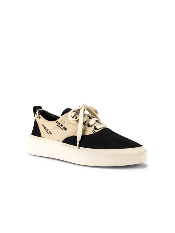 101 Lace Up Sneaker in Black & Creme Logo Print