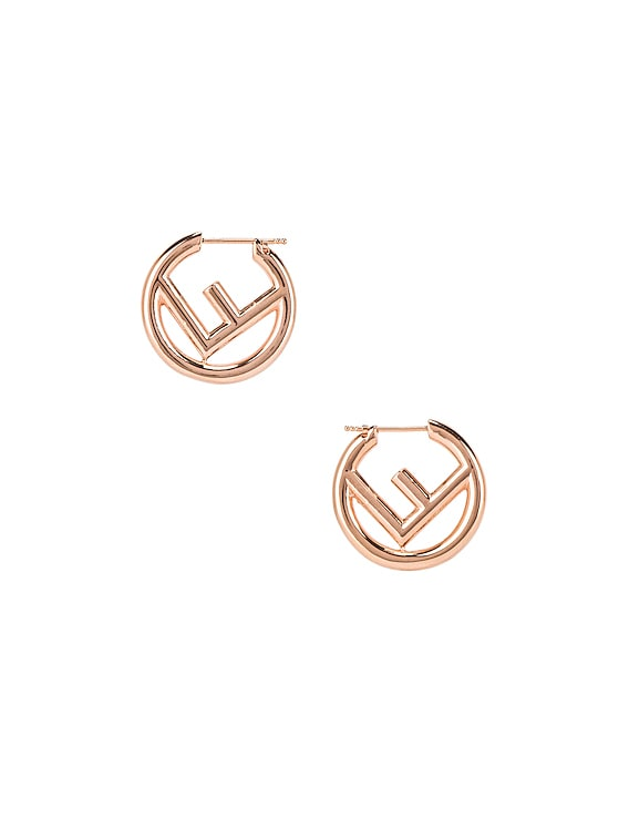 Mismatched Mini Logo Hoop Earrings in Rose Gold