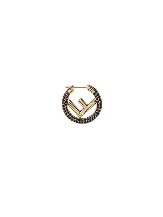 Mini Crystal Logo Hoop Earrings in Black & Gold