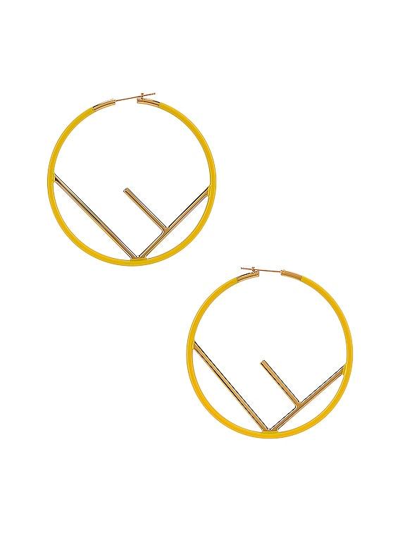 Logo Hoop Earrings in Fluo Yellow