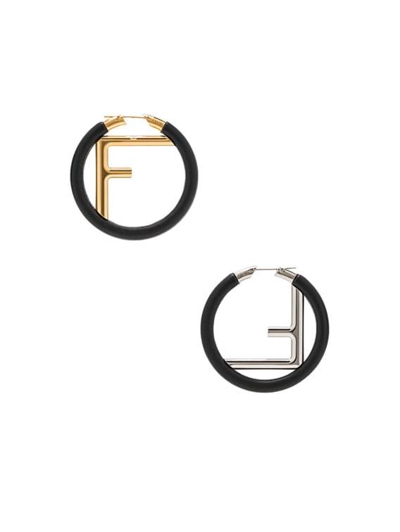 FF Hoop Earrings in Black