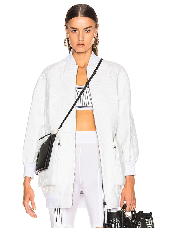 Logo Embossed Leather Jacket in White