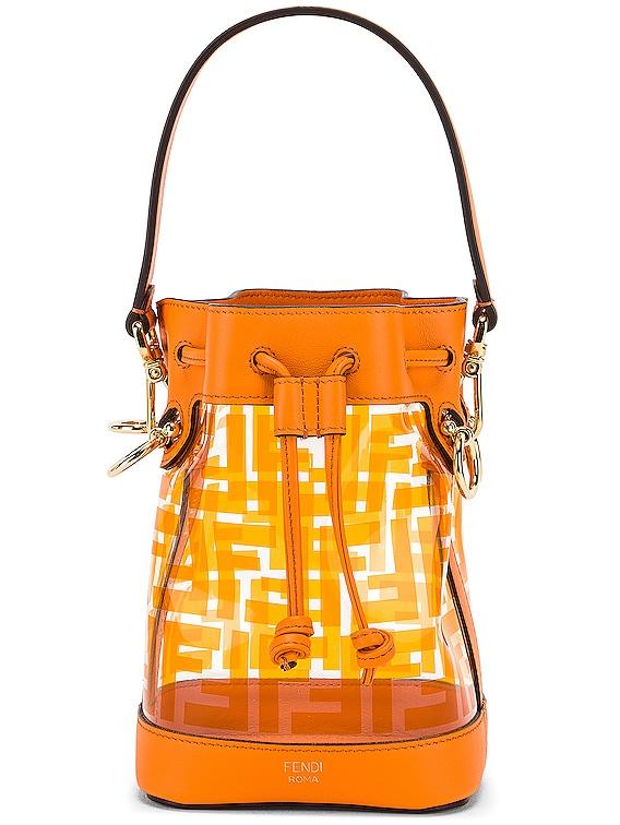 Mini Mon Tresor Logo Crossbody Bag in Orange