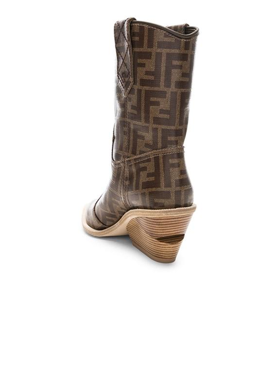 Fendi Cutwalk Logo Print Western Boots