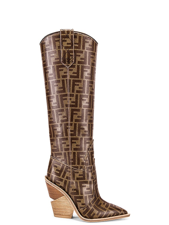 Logo Cowboy Boots in Brown