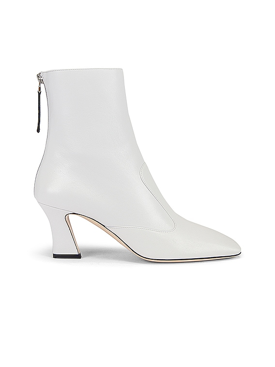 Leather Ankle Booties in White