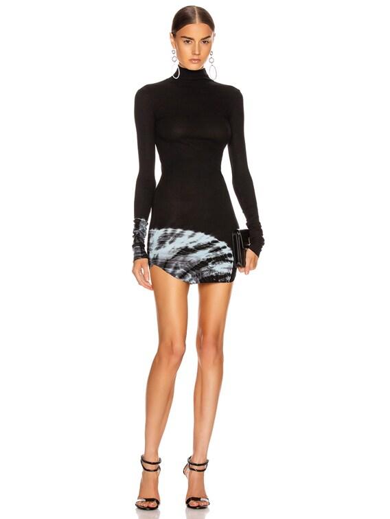 Janet Turtleneck Mini Dress in Black & Faint Turquoise