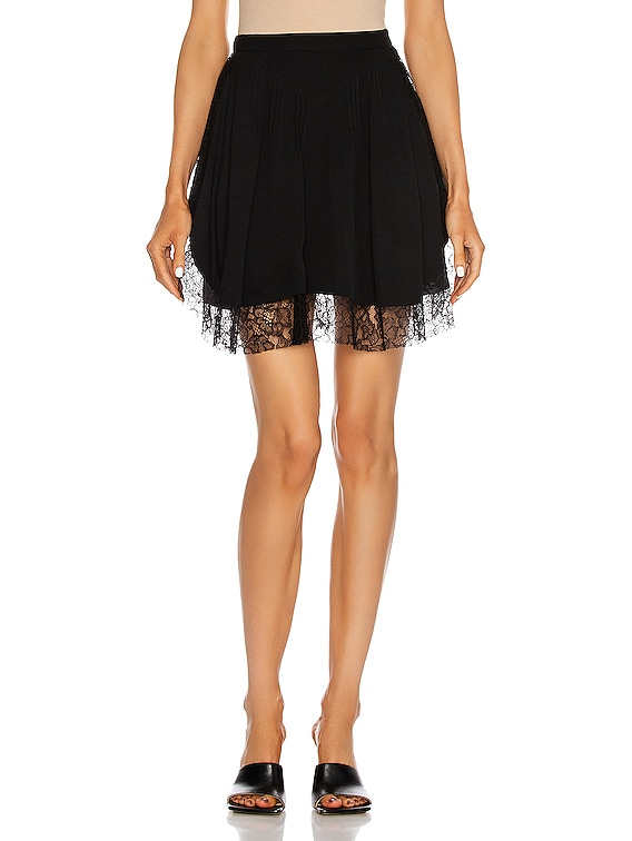 Lace Insert Pintucked Skirt in Black