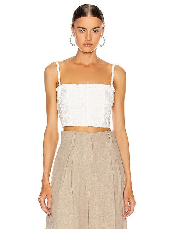 Eyelet Straight Across Corset Top in Blanc