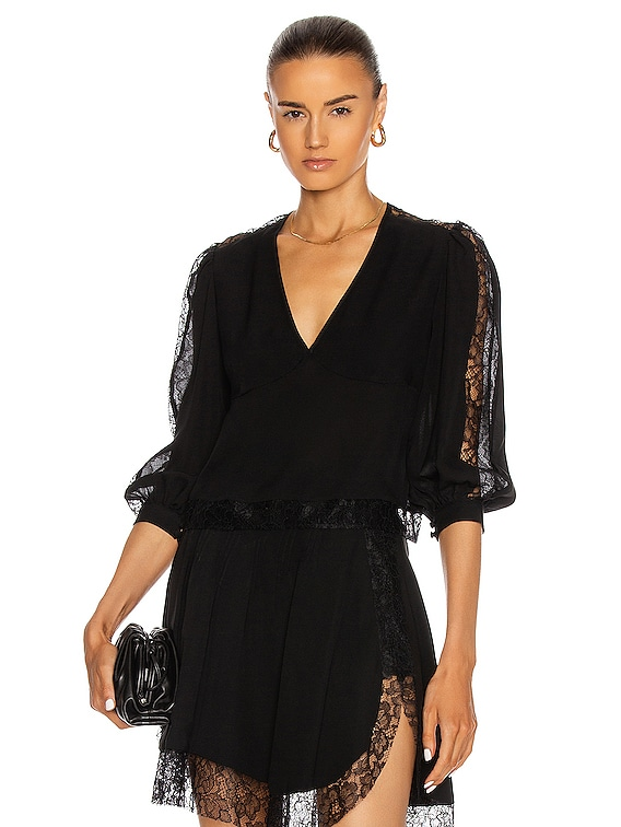 Lace Insert Pintuck Blouse in Black