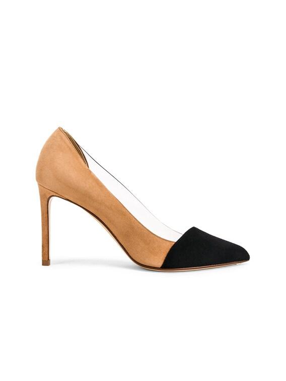 Two Tone PVC Heels in Black & Camel