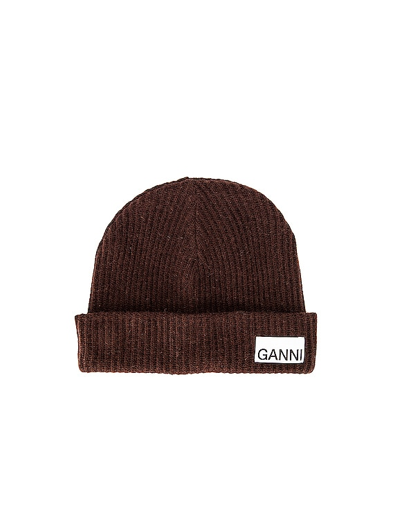 Recycled Wool Knit Beanie in Chicory Coffee