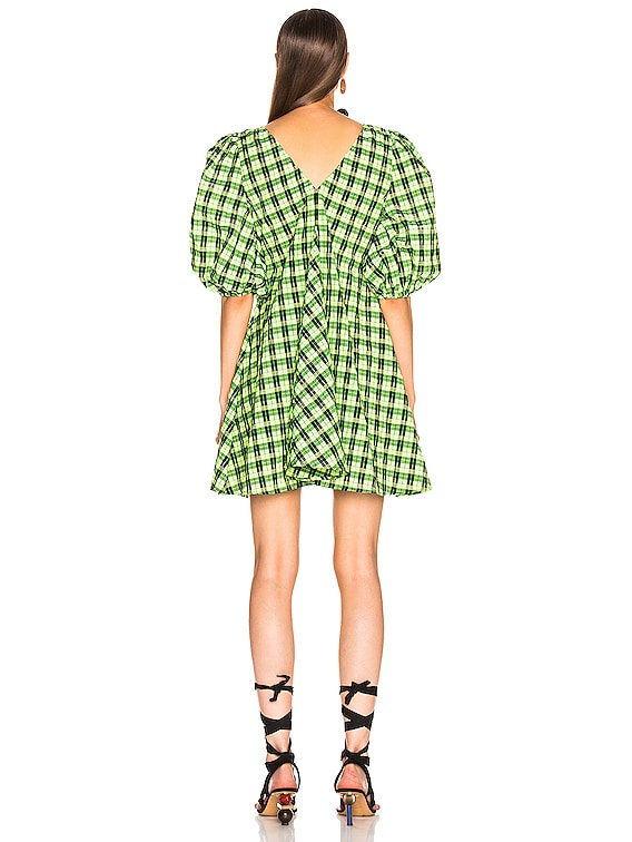 ganni seersucker dress green